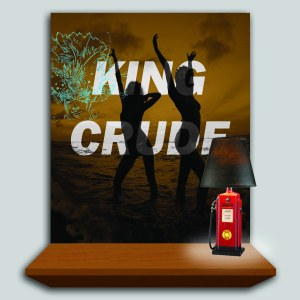"""King Crude (for David Salle)"" - David ain't got the cred that he used to way back in the caviar-infested salad days of the 80's, but oil companies ain't looking so hot these days either. Makes, no difference,though. They still makin' money hand over fist. Nothing says ""I'll kill you slowly and methodically while you sleep and you'll like it"" better than the cool, detached, pathological irony of a David Salle painting. His work is the painting equivalent of all those insanely cheerful post-oil spill commercials from BP, inviting tourists back to the Gulf. Come down to Louisiana, David! We'll leave the light on for you as long as the oil's still flowing."