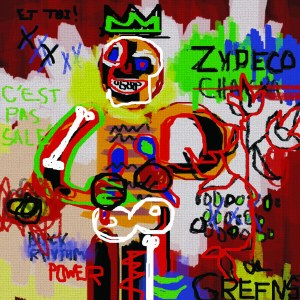 """Zydeco (for Jean Michel Basquiat)"" - Basquiat was deeply invested in the history of art and the history of African Americans and people of color around the globe. In his hands, his style of street-influenced Expressionism grounded in Cubism operated as an incisive weapon, cutting through the arbitrary hierarchies of the art world and Western culture at large to expose the underbelly of a dominant system that still was ideologically an affront to minorities and the impoverished in the 1980's - a decade generally thought of as a bell-weather for affluence and prosperity in the West. It is to his credit that he did so with such virtuosity and panache that the art world and the general public ate his often dire visual reportage of the minority experience in the West with a silver spoon. Thereby, Basquiat became rich as well - rich enough to paint in expensive suits, and buy lots and lots of heroine to cope with his depression and imploding sense of isolation among the upper eschalons of the art world. He ended his life as a casualty and cautionary tale of the excesses of the 80's, but he also managed to crack open the art world for minorities and brought some of the freshest and most vital work of the 80's to bare on the cannon of Western art. His work still holds it's own in the art market today, and every year his name grows in stature. No jokes, here - just honest appreciation. In our alternate universe, Basquiat tackles the subject of the Louisiana Creole music known as Zydeco (ZIE-DECOH), which mirrors the music of the Cajuns. Zydeco is characterized by a more syncopated rhythm and a faster pace than its counterpart. The term ""Zydeco"" is said to come from the French phrase ""Les haricots ne sont pas sale'"" (LAY ZAR-EE-COH SAHN PA SA-LAY), which translates to ""The green beans aren't salty"" and is a sly way to reference that one is too poor to afford salt meat to season one's beans. In the painting, our Creole Basquiat paints a Zydeco washboard, or frottoir (FROTWAHR), player, and references the power of the music which essentially comes from a marginalized population and it's folkways."