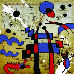 """The Cypress Ladder (for Joan Miro)"" -  Once upon a time in Louisiana, a little betaille (BAY-TIE, French for ""monster"") named T'Joan from New Iberia was being chased by an alligator in da swamp. He climbed a cypress tree all da way to da top. Dere he met a nice egret dat gave him a ride to da sky dat was full of stars. He lived happily ever after in a nice cloud dat was like steam from a bowl of warm rice. Da end."