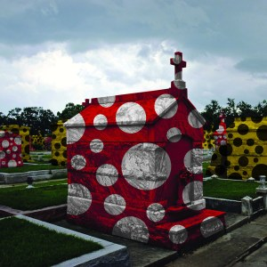 """Infinity Graveyard (for Yayoi Kusama)"" – South Louisiana's got some soggy foundations. Dig six-feet-under, and you'll hit water. That's why we've got all of those fancy above-ground tombs and crypts. That's also why it seems like we Louisianians are so obsessed with death. In reality, we REALLY, REALLY are. Blame Catholicism and all those hurricanes and nasty critters that surround us. Our obsession with death is also the Yin to our ""joi de vivre"" (JWA DUH VEEV, French for ""joy for life""). That's our BIG YANG. They balance each other out. You know who is also obsessed with all this stuff, too - that batshit crazy Yayoi Kusama. She'd give her lecherous father's left nut to do-up one of our graveyards with some spots. In a perfect world, this would be my final resting place. Love ya, Yayoi! REALLY! Come visit some time!"