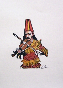 Cajun Fiddler-Number 1_Lino block print_HRoe_2012