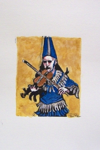 Cajun Fiddler-Number 2_Lino block print_HRoe_2012